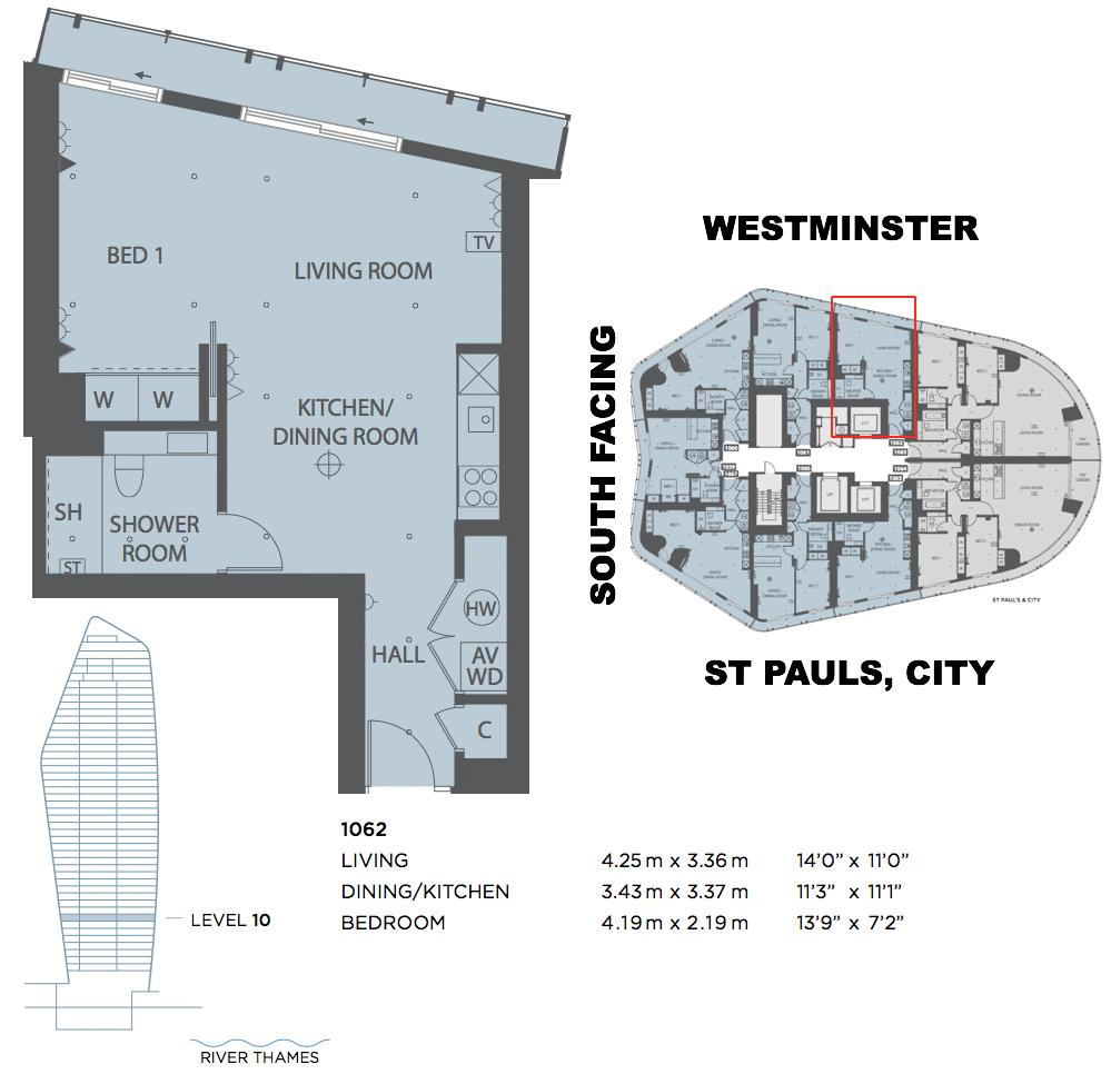 Blackfriars road borough the 1 bedroom flat for sale se1 for Apartment floor plans london